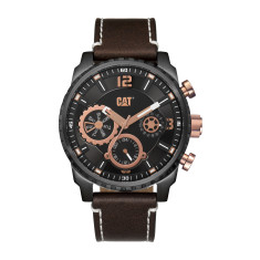 CAT Mossville series Watch in Gun Metal Steel & Rose Gold with Brown Leather band with Dual-Time face