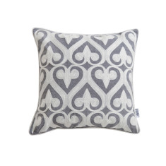 Set of 2 - Grey & White Applique Cushion Covers