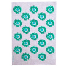 Ikat spots linen tea towel in green and aqua (natural or off-white)