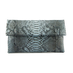 Grey motif python leather classic foldover clutch