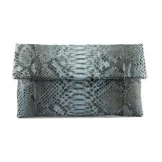 Grey motif python leather classic foldover clutch