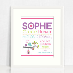 Girls' personalised chart birth prints (various designs)