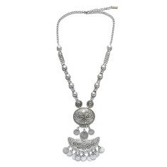 Large silver tribal pendant statement coin necklace