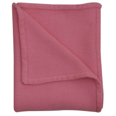 Wave knit luxury cotton baby blanket in candy