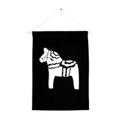Swedish dala horse handmade wall banner