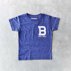 Kids Balmain varsity t-shirt in indigo blue
