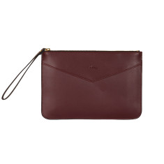 Lena clutch in burgundy leather