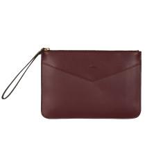 Lena clutch in burgundy leather