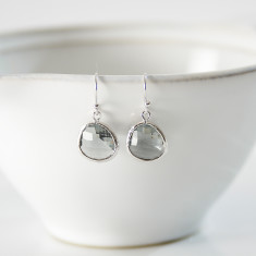 Smokey Grey Silver Raindrop Earrings