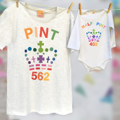 Rainbow Matching unisex pint & half pint baby grow set for adult and child