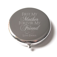 Personalised mother's engraved compact mirror in silver