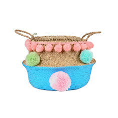Seagrass belly basket bright blue & pastel