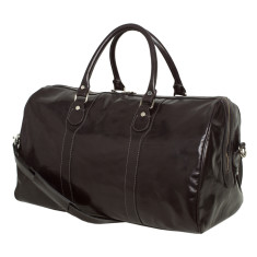 Beltrami black leather weekender bag