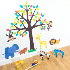Jungle Animals and Tree Wall Sticker