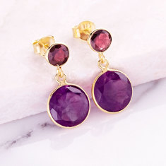 Sweetie double drop earrings in gold plate