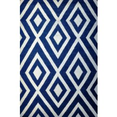 Points rug in navy and white