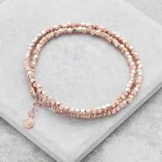 Double Rose Gold Nugget Wrap Bracelet