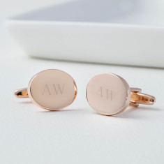 Monogram Personalised Rose Gold Oval Cufflinks