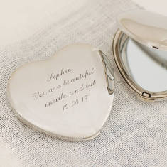 Personalised Heart Handbag Mirror