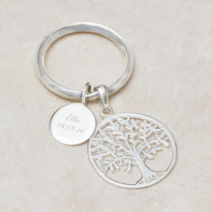 Asta Sterling Silver Tree Of Life Personalised Key Ring