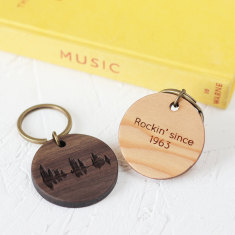 Personalised your voice wooden key ring