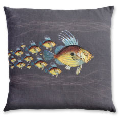 Dory School linen cushion cover