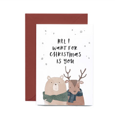 Moose and Bear Christmas greeting card
