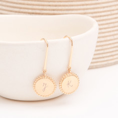Personalised beaded disc earrings