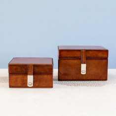 Personalised leather stud box with clasp