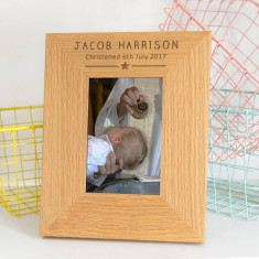 Personalised Modern Christening Photo Frame