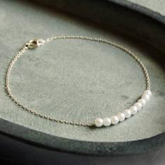 Delicate Sterling Silver Pearl Cluster Bracelet