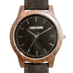 Poitier black sandalwood and suede watch