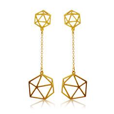 Geodesic drop earrings in gold