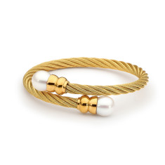 Yellow gold plated double white pearl steel bangle