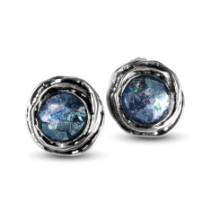 Venus Dichroic Ancient Roman Glass Sterling Silver Stud Earrings