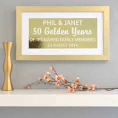 Personalised Golden Anniversary Metallic Framed Print