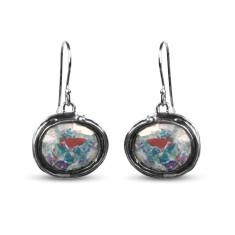 Venus Dichroic Ancient Roman Glass Sterling Silver Oval Drop Earrings