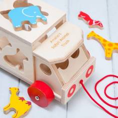 Personalised Safari Animal Shape Sorter Lorry