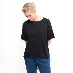 Organic Boxy Crop Tee in Black