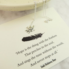 Emily dickinson 'hope' bird necklace