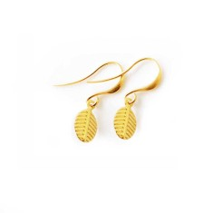 Tiny gold leaf earrings