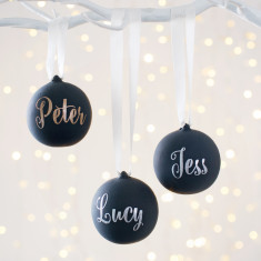 Personalised Black Ceramic Glitter Bauble