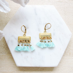Turquoise blue tiny tassels and brass Gypsy earrings