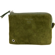 Khaki green leather zip pouch