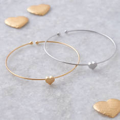 Love heart skinny stacking bangle