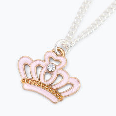 Pink princess crown chain necklace