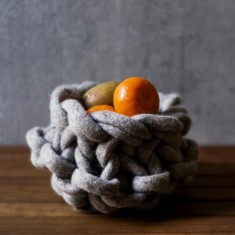 Small wool bowl in grey