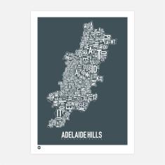 Adelaide Hills typographic print
