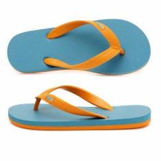 Kids' aqua & orange organic thongs
