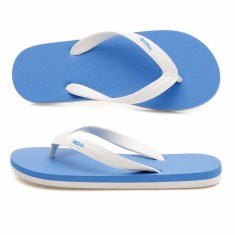 Kids' blue & white organic thongs